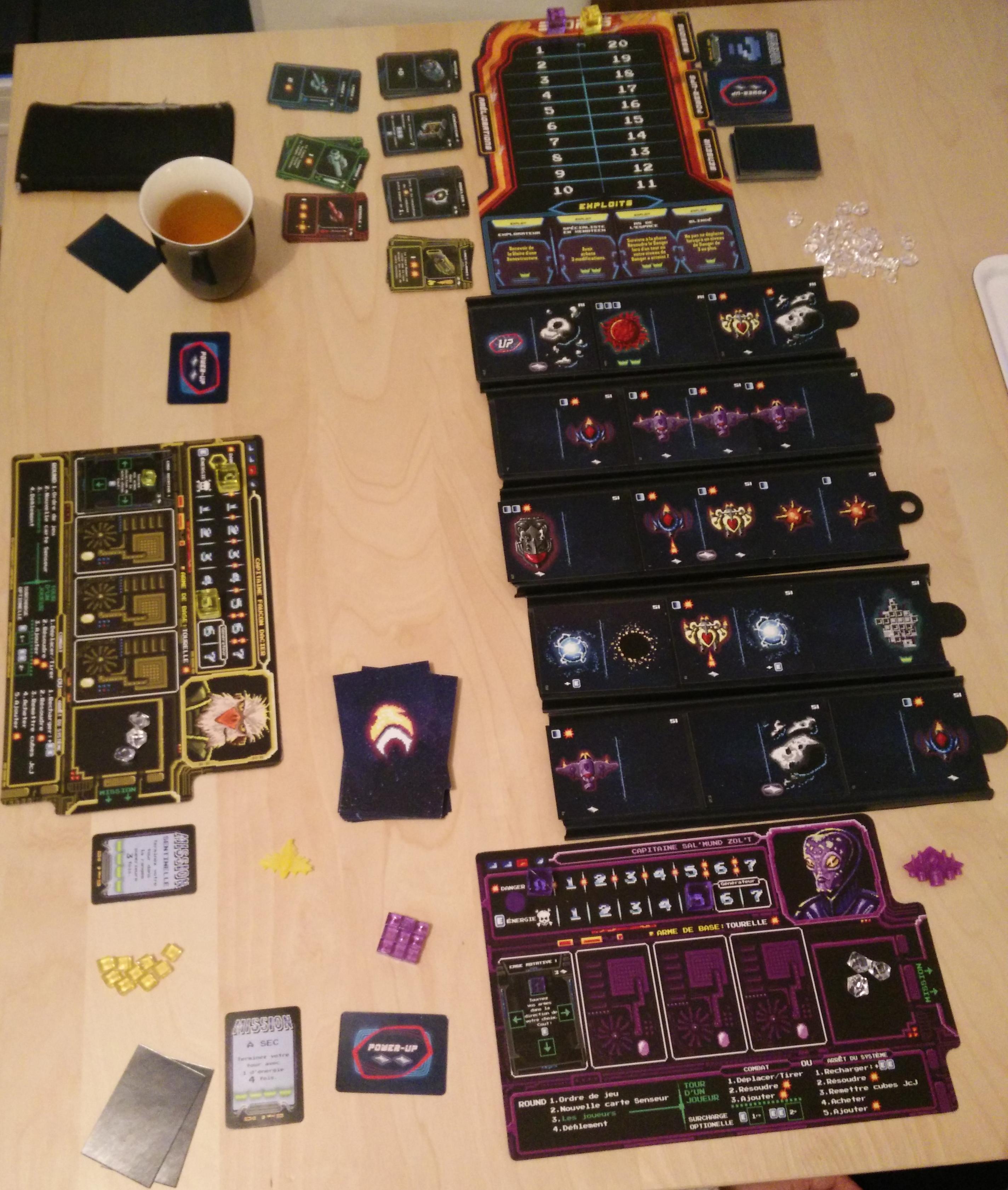 Exemple de mise en place. Ici, la partie se déroulera entre deux joueurs.