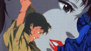 Cette affiche de Perfect Blue donne plus l'image d'un thriller que l'originale.