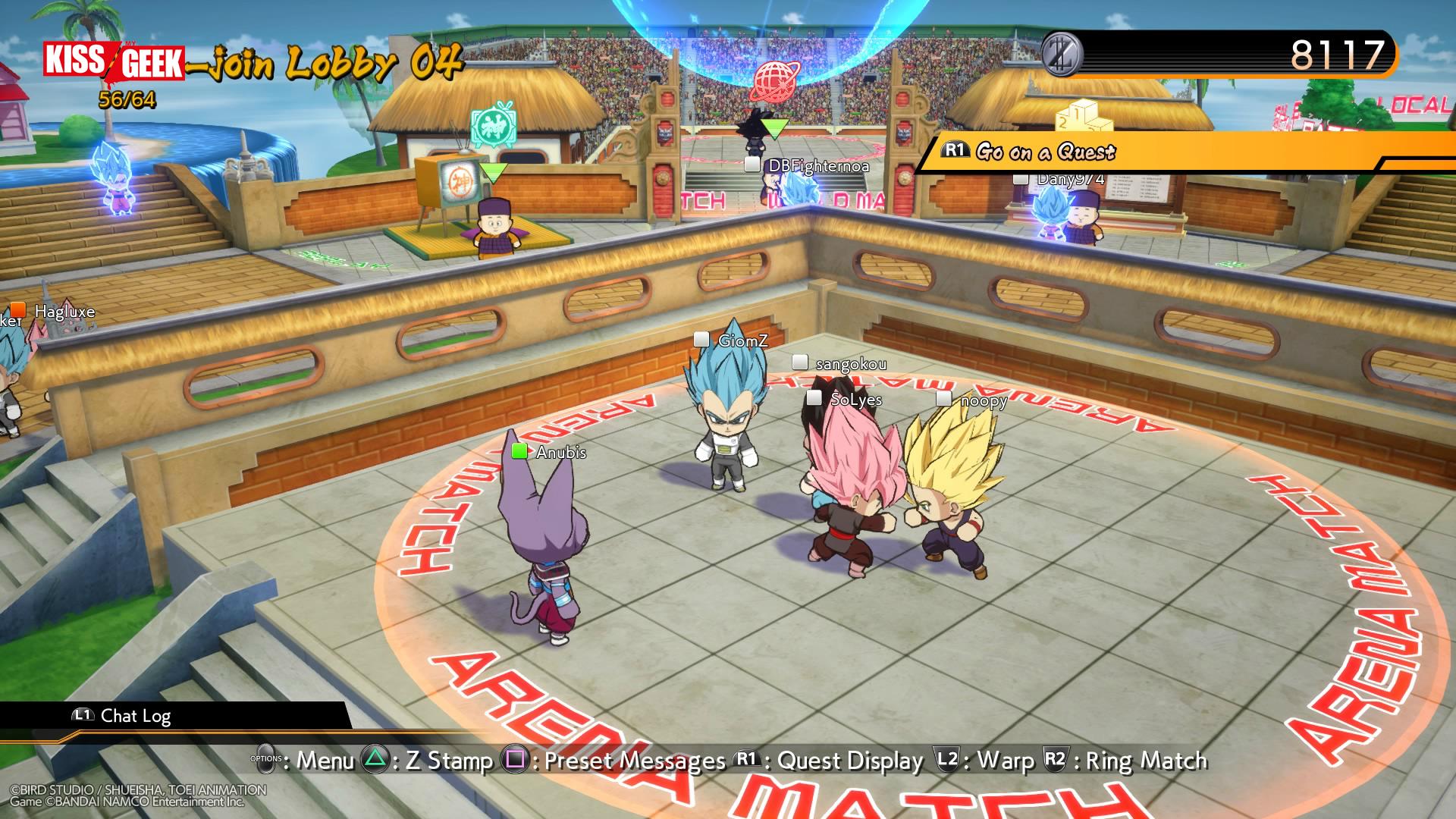 """Vous croiserez les autres combattants en mode """"mooooh ils sont trop choupiiiiis !"""" dans le lobby (oui, j'ai choisi Vegeta SSJSS comme avatar chibi)"""