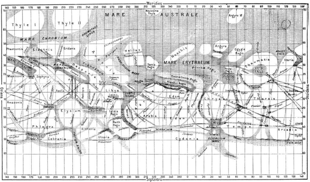 """Carte de Mars dessinée par Schiaparelli en 1877. Au-delà des noms donnés aux """"mers"""" et """"continents"""", ce sont surtout les lignes droites qui ont intriguées les astronomes du monde entier."""