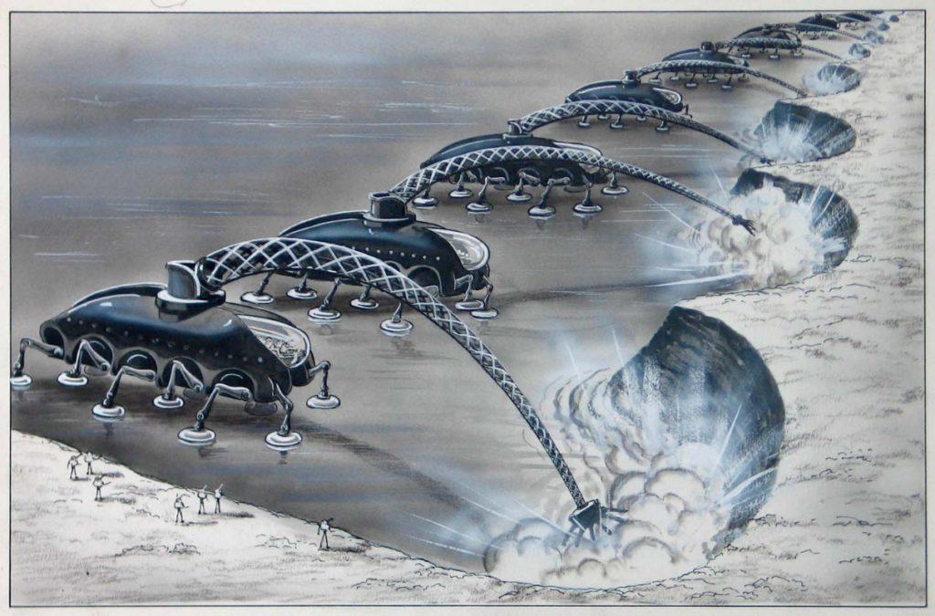 Pour creuser des canaux sur Mars, l'artiste Frank R. Paul imagine en 1949 des excavatrices à l'énergie atomique.