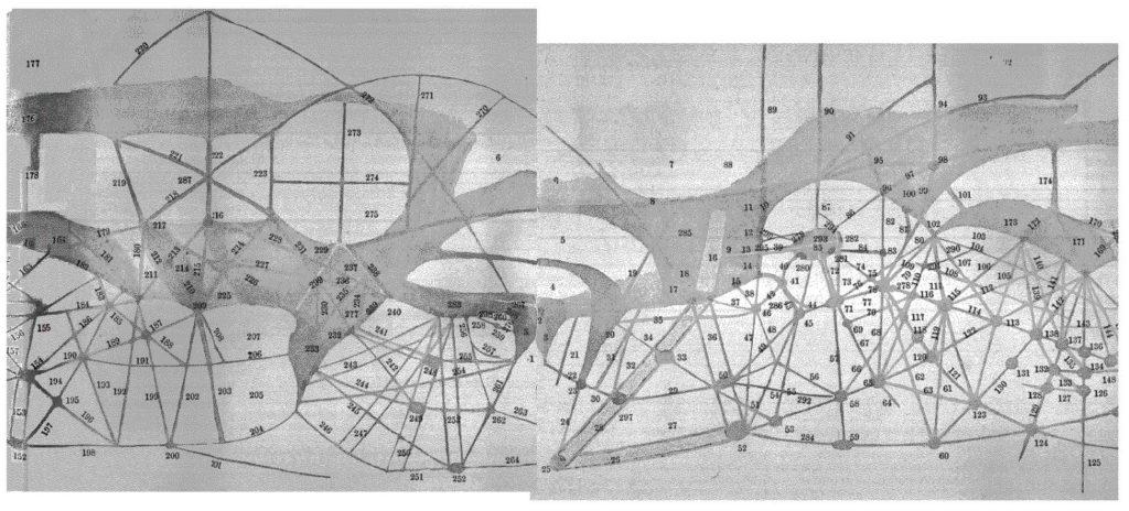 Carte de Mars dessinée par Lowell en 1895. Les canaux observés y sont numérotés.