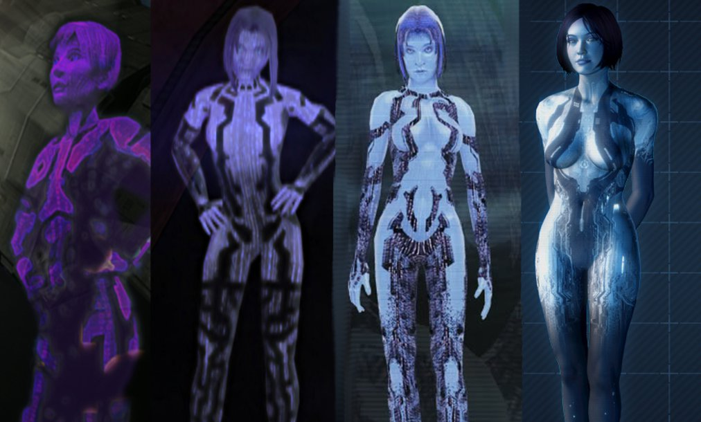 Evolution de Cortana (Halo) entre 2001 et 2012.