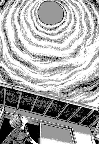 Dans Uzukami, Junji Itō présente lui aussi un bestiaire de créatures inquiétantes, entre humains déformés, transformés en escargots, ou cyclones géants omniscients.