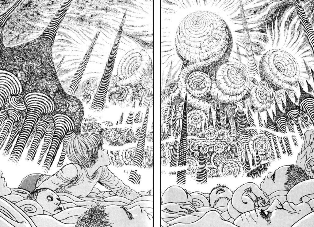 Certains récits de Junji Itō proposent, comme Lovecraft en son temps, que des civilisations aient pu vivre sur terre bien avant les nôtres, ne laissant derrière elles que des cités aussi secrètes que maudites.