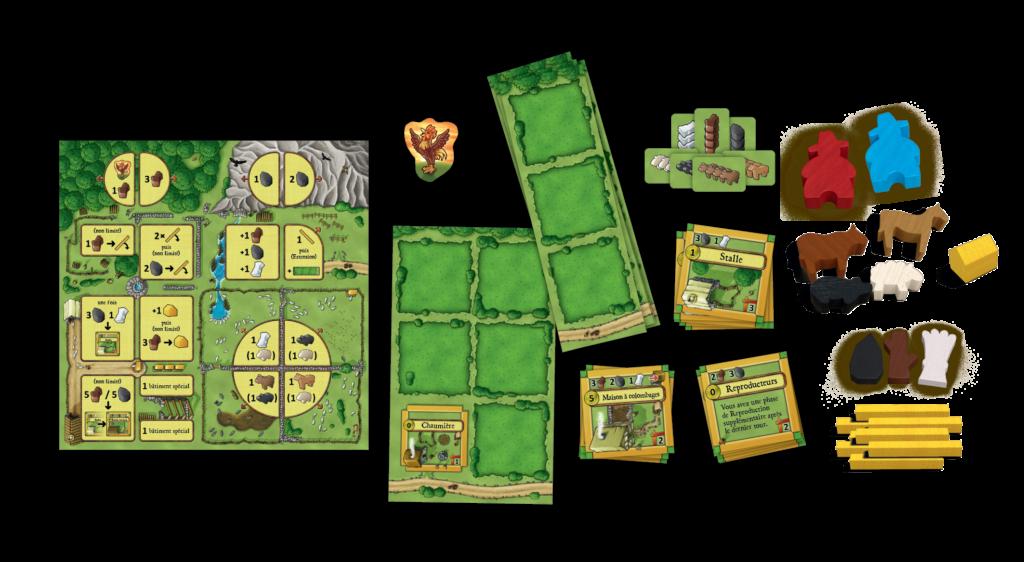 Un aperçu du matériel d'Agricola, les fermiers de la lande, la big box 2 joueurs