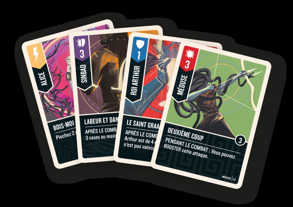 Quelques cartes du jeu Unmatched Combat de Légende Volume 1